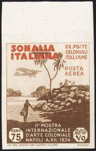 Sale Number 1194, Lot Number 2609, Italy & Italian ColoniesSOMALIA, 1934, 75c Brown & Red Orange, Air Post, Imperforate (C3a; Sassone A3a), SOMALIA, 1934, 75c Brown & Red Orange, Air Post, Imperforate (C3a; Sassone A3a)