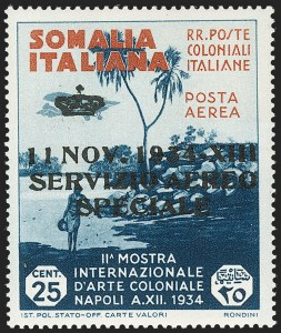 Sale Number 1194, Lot Number 2610, Italy & Italian ColoniesSOMALIA, 1934, 25l + 2l Servizio di Stato Air Post Official (CO1; Sassone SA2), SOMALIA, 1934, 25l + 2l Servizio di Stato Air Post Official (CO1; Sassone SA2)