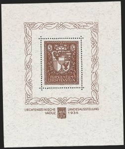 Sale Number 1194, Lot Number 2612, Liechtenstein thru Mariana IslandsLIECHTENSTEIN, 1934, 5m Vaduz Souvenir Sheet (115; Michel Block 1), LIECHTENSTEIN, 1934, 5m Vaduz Souvenir Sheet (115; Michel Block 1)