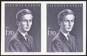 Sale Number 1194, Lot Number 2614, Liechtenstein thru Mariana IslandsLIECHTENSTEIN, 1964, 1.70fr Violet, Imperforate (356Ab; Michel 439U), LIECHTENSTEIN, 1964, 1.70fr Violet, Imperforate (356Ab; Michel 439U)