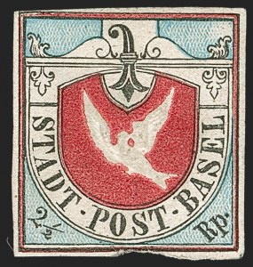 Sale Number 1194, Lot Number 2640, Switzerland thru YemenSWITZERLAND, Basel, 1845, 2-1/2r Dove of Basel (3L1; Zumstein 8), SWITZERLAND, Basel, 1845, 2-1/2r Dove of Basel (3L1; Zumstein 8)