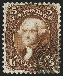 Sale Number 1195, Lot Number 100, 1861 First Designs and Colors Stamps5c Brown, First Design (57), 5c Brown, First Design (57)
