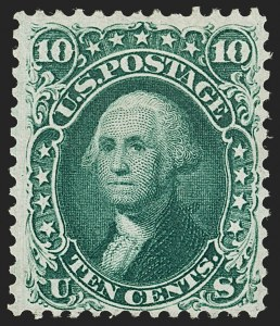 Sale Number 1195, Lot Number 101, 1861 First Designs and Colors Stamps10c Dark Green, First Design (62B), 10c Dark Green, First Design (62B)