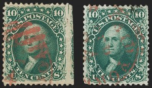 Sale Number 1195, Lot Number 103, 1861 First Designs and Colors Stamps10c Dark Green, First Design (62B), 10c Dark Green, First Design (62B)