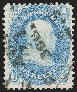 "Sale Number 1195, Lot Number 108, 1861-66 Issue Stamps1c Blue, Dot in ""U"" (63), 1c Blue, Dot in ""U"" (63)"