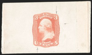 Sale Number 1195, Lot Number 11, 1861 Contract Essays: 3-Cent National Bank Note Co., 3c Scarlet, Progressive Die Essay on India (65-E13), National Bank Note Co., 3c Scarlet, Progressive Die Essay on India (65-E13)