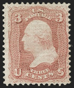 Sale Number 1195, Lot Number 119, 1861-66 Issue Stamps3c Rose, Horizontally Laid Paper (65b), 3c Rose, Horizontally Laid Paper (65b)