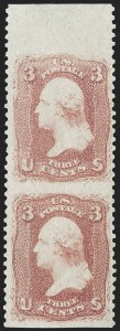 Sale Number 1195, Lot Number 123, 1861-66 Issue Stamps3c Rose, Vertical Pair, Imperforate Horizontally (65d), 3c Rose, Vertical Pair, Imperforate Horizontally (65d)