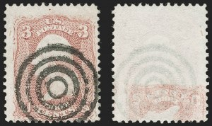 Sale Number 1195, Lot Number 125, 1861-66 Issue Stamps3c Rose, Printed on Both Sides (65e), 3c Rose, Printed on Both Sides (65e)