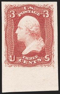 Sale Number 1195, Lot Number 128, 1861-66 Issue Stamps3c Lake, Imperforate (66a), 3c Lake, Imperforate (66a)