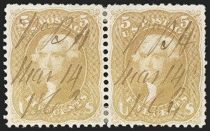 Sale Number 1195, Lot Number 132, 1861-66 Issue Stamps5c Brown Yellow (67a), 5c Brown Yellow (67a)