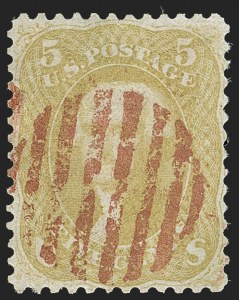 Sale Number 1195, Lot Number 135, 1861-66 Issue Stamps5c Olive Yellow (67b), 5c Olive Yellow (67b)