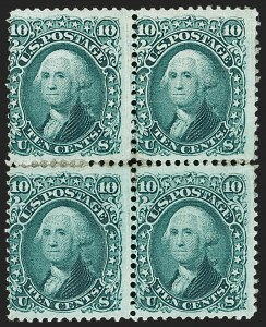 Sale Number 1195, Lot Number 137, 1861-66 Issue Stamps, cont.10c Yellow Green (68), 10c Yellow Green (68)