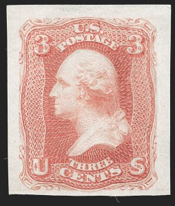 Sale Number 1195, Lot Number 14, 1861 Contract Essays: 3-Cent National Bank Note Co., 3c Rose, Progressive Die Essay on India (65-E16, unlisted), National Bank Note Co., 3c Rose, Progressive Die Essay on India (65-E16, unlisted)