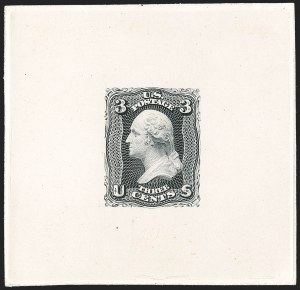 Sale Number 1195, Lot Number 15, 1861 Contract Essays: 3-Cent 3c Black, Large Die Trial Color Proof on India (65TC1ae), 3c Black, Large Die Trial Color Proof on India (65TC1ae)