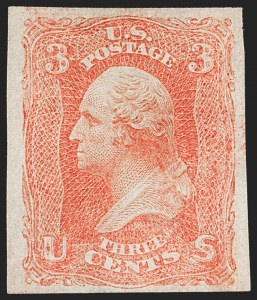 Sale Number 1195, Lot Number 165, 1861-66 Issue Stamps, cont.3c Scarlet, Imperforate (74a), 3c Scarlet, Imperforate (74a)