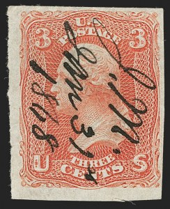 Sale Number 1195, Lot Number 166, 1861-66 Issue Stamps, cont.3c Scarlet, Imperforate (74a), 3c Scarlet, Imperforate (74a)