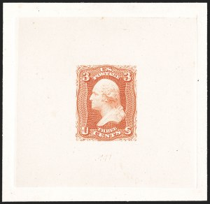 Sale Number 1195, Lot Number 19, 1861 Contract Essays: 3-Cent 3c Scarlet, Large Die Trial Color Proof on India (74TC1a), 3c Scarlet, Large Die Trial Color Proof on India (74TC1a)
