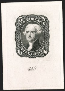 Sale Number 1195, Lot Number 20, 1861 Contract Essays: 5-Cent National Bank Note Co., 5c Black, First Design, Progressive Large Die Essay on India (67-E8), National Bank Note Co., 5c Black, First Design, Progressive Large Die Essay on India (67-E8)