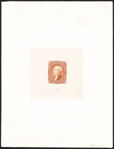 Sale Number 1195, Lot Number 23, 1861 Contract Essays: 5-Cent 5c Dark Orange, Large Die Trial Color Proof on India (67TC1af var), 5c Dark Orange, Large Die Trial Color Proof on India (67TC1af var)