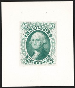 Sale Number 1195, Lot Number 25, 1861 Contract Essays: 10-Cent National Bank Note Co., 10c Dark Green, Progressive Die Essay on India (68-E2), National Bank Note Co., 10c Dark Green, Progressive Die Essay on India (68-E2)