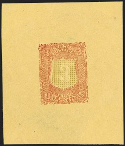 Sale Number 1195, Lot Number 259, Essays for Re-Use Prevention: Experimental Grills and OthersNational Bank Note Co., 3c Carmine, Shield-Shaped Die Essay on Orange Wove, Grilled (79-E18f), National Bank Note Co., 3c Carmine, Shield-Shaped Die Essay on Orange Wove, Grilled (79-E18f)