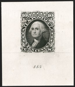 Sale Number 1195, Lot Number 26, 1861 Contract Essays: 10-Cent 10c Black, Large Die Trial Color Proof on India (68TC1a), 10c Black, Large Die Trial Color Proof on India (68TC1a)