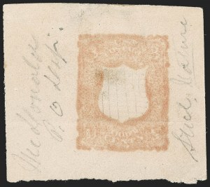 Sale Number 1195, Lot Number 260, Essays for Re-Use Prevention: Experimental Grills and OthersNational Bank Note Co., 3c Pale Orange Brown, Shield-Shaped Die Essay on Grayish Wove (79-E18i), National Bank Note Co., 3c Pale Orange Brown, Shield-Shaped Die Essay on Grayish Wove (79-E18i)