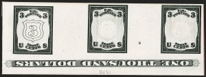 Sale Number 1195, Lot Number 262, Essays for Re-Use Prevention: Experimental Grills and OthersNational Bank Note Co., 3c Black, Engraved Shield Die Essay on India (79-E19a var), National Bank Note Co., 3c Black, Engraved Shield Die Essay on India (79-E19a var)