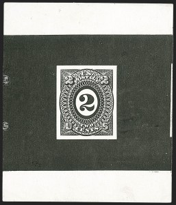 Sale Number 1195, Lot Number 265, Essays for Re-Use Prevention: Experimental Grills and OthersNational Bank Note Co., 2c Black, Typographed Untrimmed Die Essay on Stiff Glazed Paper (79-E27b var), National Bank Note Co., 2c Black, Typographed Untrimmed Die Essay on Stiff Glazed Paper (79-E27b var)