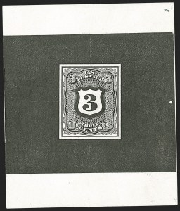 Sale Number 1195, Lot Number 268, Essays for Re-Use Prevention: Experimental Grills and OthersNational Bank Note Co., 3c Black, Typographed Untrimmed Shield Die Essay on Stiff Glazed Paper (79-E28a), National Bank Note Co., 3c Black, Typographed Untrimmed Shield Die Essay on Stiff Glazed Paper (79-E28a)