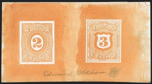 Sale Number 1195, Lot Number 269, Essays for Re-Use Prevention: Experimental Grills and OthersNational Bank Note Co., 2c-3c Yellow Orange, Untrimmed Shield Die Essay on India (79-E28b), National Bank Note Co., 2c-3c Yellow Orange, Untrimmed Shield Die Essay on India (79-E28b)