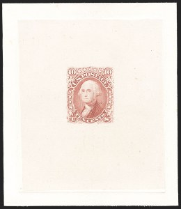 Sale Number 1195, Lot Number 27, 1861 Contract Essays: 10-Cent 10c Dull Rose, Large Die Trial Color Proof on India (68TC1a), 10c Dull Rose, Large Die Trial Color Proof on India (68TC1a)