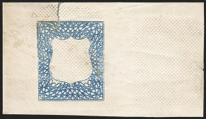 Sale Number 1195, Lot Number 273, Essays for Re-Use Prevention: Experimental Grills and OthersNational Bank Note Co., Diagonal Grill Die Essay, Blue Lathework Frame (79-E21c), National Bank Note Co., Diagonal Grill Die Essay, Blue Lathework Frame (79-E21c)