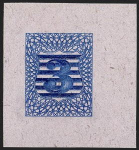 Sale Number 1195, Lot Number 274, Essays for Re-Use Prevention: Experimental Grills and OthersNational Bank Note Co., 3c Blue, Shield Die Essay on Pink Lilac (79-E22), National Bank Note Co., 3c Blue, Shield Die Essay on Pink Lilac (79-E22)