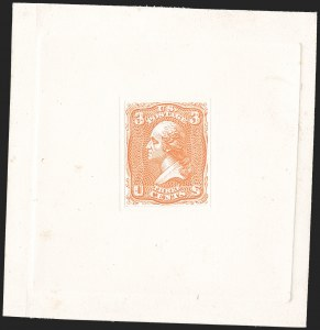 Sale Number 1195, Lot Number 275, Essays for Re-Use Prevention: Experimental Grills and OthersNational Bank Note Co., 3c Orange, Die Essay on White Card (79-E23 var), National Bank Note Co., 3c Orange, Die Essay on White Card (79-E23 var)