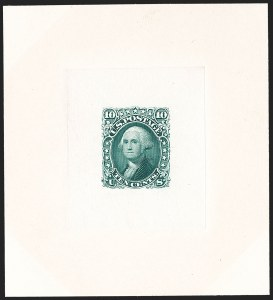 Sale Number 1195, Lot Number 28, 1861 Contract Essays: 10-Cent 10c Dark Green, Large Die Proof on India (68P1), 10c Dark Green, Large Die Proof on India (68P1)