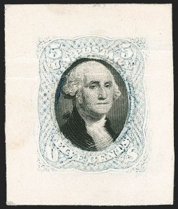 Sale Number 1195, Lot Number 300, Essays for Re-Use Prevention: Bi-Colored EssaysNational Bank Note Co., 5c Light Blue & Black, Die Essay on White Card (79-E37a), National Bank Note Co., 5c Light Blue & Black, Die Essay on White Card (79-E37a)