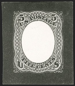 Sale Number 1195, Lot Number 305, Essays for Re-Use Prevention: Bi-Colored EssaysNational Bank Note Co., 5c Black, Untrimmed Die Essay of Frame Only on Ivory Paper (79-E35c), National Bank Note Co., 5c Black, Untrimmed Die Essay of Frame Only on Ivory Paper (79-E35c)