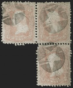 Sale Number 1195, Lot Number 313, 1867-68 Grilled Issue: A Grill3c Rose, A. Grill (79), 3c Rose, A. Grill (79)