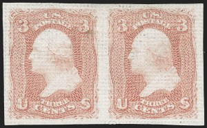 Sale Number 1195, Lot Number 315, 1867-68 Grilled Issue: A Grill3c Rose, A. Grill, Imperforate Pair (79a), 3c Rose, A. Grill, Imperforate Pair (79a)