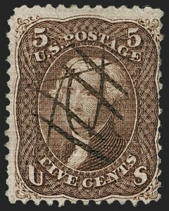Sale Number 1195, Lot Number 316, 1867-68 Grilled Issue: A Grill5c Brown, A. Grill (80), 5c Brown, A. Grill (80)
