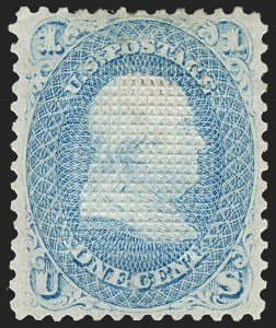 Sale Number 1195, Lot Number 317, 1867-68 Grilled Issue: C Grill1c Blue, C. Grill, Points Down (83 var, 79-E15i), 1c Blue, C. Grill, Points Down (83 var, 79-E15i)