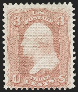 Sale Number 1195, Lot Number 318, 1867-68 Grilled Issue: C Grill3c Rose, C. Grill, Points Up (83 var, 79-E15j), 3c Rose, C. Grill, Points Up (83 var, 79-E15j)