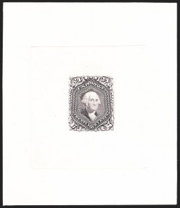 Sale Number 1195, Lot Number 32, 1861 Contract Essays: 24-Cent 24c Violet, Large Die Trial Color Proof on India (70TC1a), 24c Violet, Large Die Trial Color Proof on India (70TC1a)