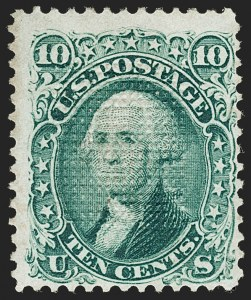 Sale Number 1195, Lot Number 322, 1867-68 Grilled Issue: C Grill10c Green, C. Grill, Points Up (83 var, 79-E15l), 10c Green, C. Grill, Points Up (83 var, 79-E15l)