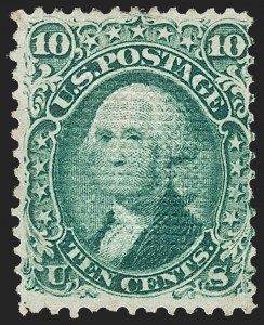 Sale Number 1195, Lot Number 323, 1867-68 Grilled Issue: C Grill10c Green, C. Grill, Points Down (83 var, 79-E15l), 10c Green, C. Grill, Points Down (83 var, 79-E15l)