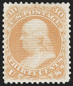 Sale Number 1195, Lot Number 326, 1867-68 Grilled Issue: C Grill30c Orange, C. Grill, Points Up (83 var, 79-E15n), 30c Orange, C. Grill, Points Up (83 var, 79-E15n)