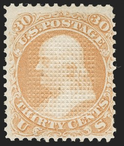 Sale Number 1195, Lot Number 327, 1867-68 Grilled Issue: C Grill30c Orange, C. Grill, Points Down (83 var, 79-E15n), 30c Orange, C. Grill, Points Down (83 var, 79-E15n)