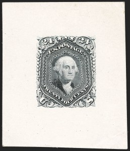 Sale Number 1195, Lot Number 33, 1861 Contract Essays: 24-Cent 24c Gray, Large Die Trial Color Proof on India (70TC1a var), 24c Gray, Large Die Trial Color Proof on India (70TC1a var)